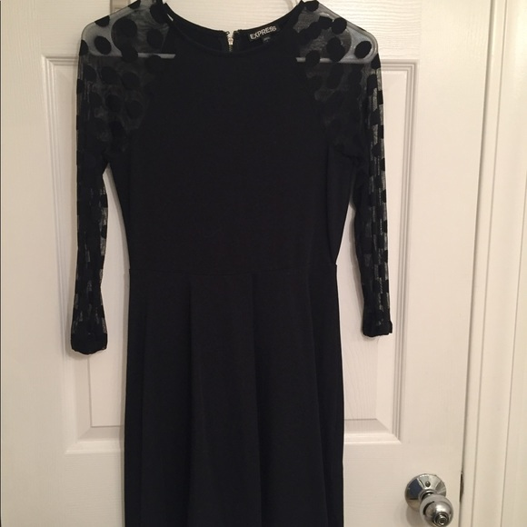 Express Dresses & Skirts - Express Black dress sheer polka dot sleeves